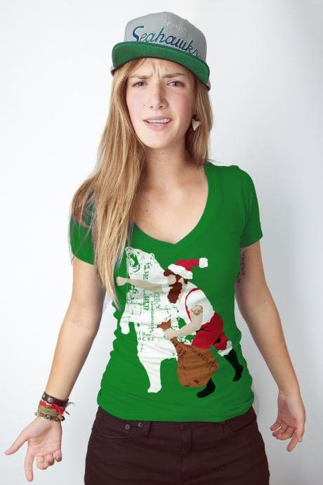 Women's Christmas Bear Punch, Kelly Green, Available S-XL