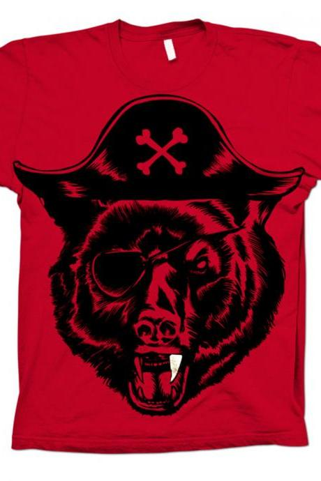 Black Beard, Pirate tee, Pirate t-shirt, Grizzly Bear, Black Bear, Red Available S, M, XL