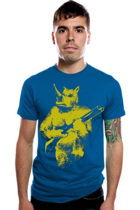 Rhino tee, africa tee, primitive, tribal, graphic tee, Royal Blue S XL XXL Available