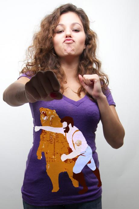 Bear tshirt, Grizzly tee, Man Punching Bear, Purple, V neck, American Apparel Sizes S M 2XL Available