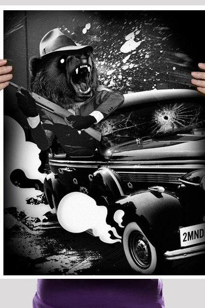 Bear, Grizzly, 1920s, Gangster, Drive By, Art Print, Poster, Digtal Print 18 x 24