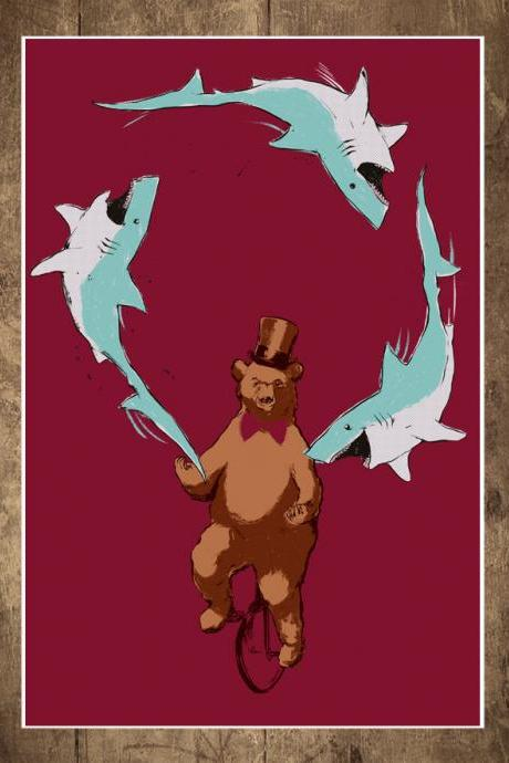 Jaws & Paws, Shark print, Bear Poster, circus, top hat, unicycle, juggling, art print, 18 x 24