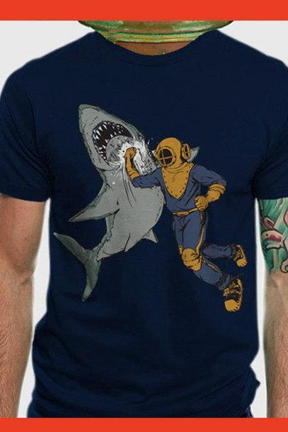 Shark t-shirt, shark tee, Unisex, American Apparel, navy, Available S M L XL 2XL