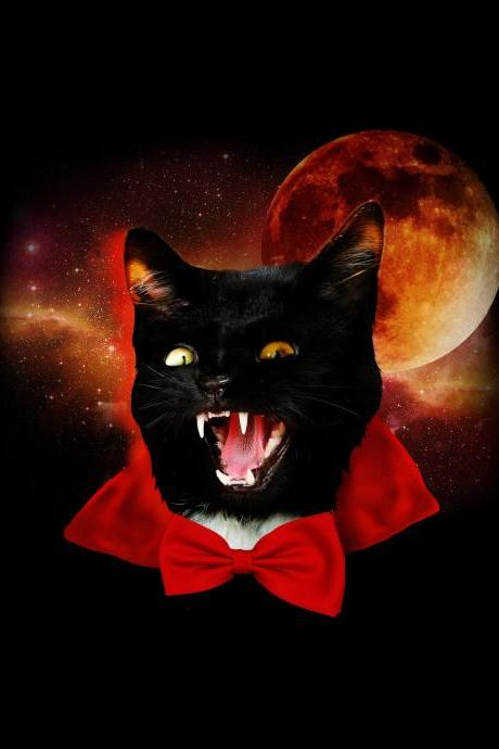 Space tshirt, halloween tee, dracula shirt, cat tshirt, kitty, Black Mens Tee Available S-2XL