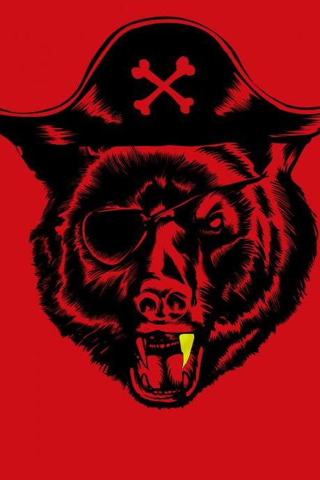 Pirate t-shirt, beard tee, Pirate, Black Bear, funny tee, Red Available S, M, XL