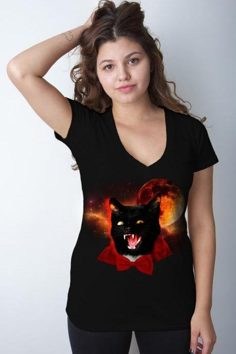 Vampire tshirt, halloween tee, dracula shirt, cat tshirt, bowtie, Black Womens Tee Available S-2XL