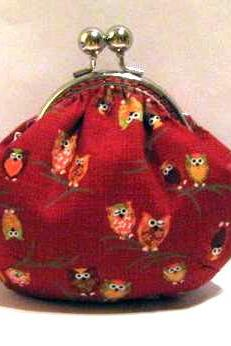 Owls on branch frame pouch - frame purse