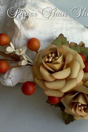 Handmade Fall Paper Flower Spray - Wedding - DIY - Napkin Ring - Table Decor - Shadow Box - Crafts