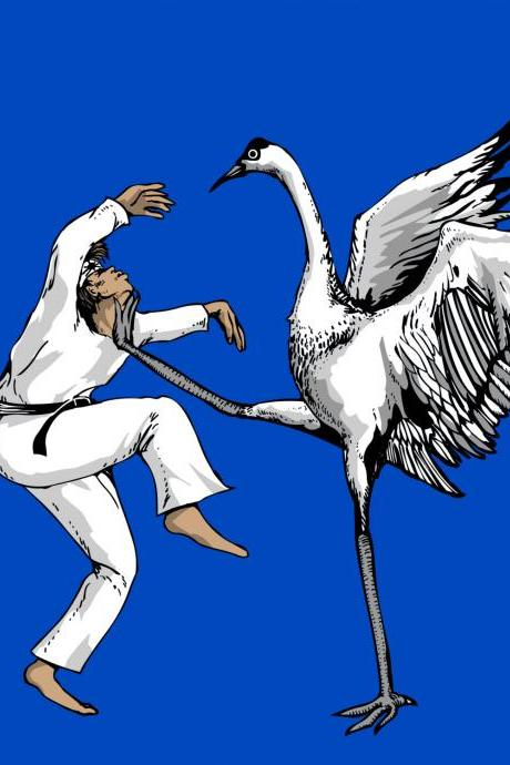 Karate Crane 3-Pack, Stationary Cards, Folded Cards, Blank Cards, Greeting Cards, Matching envelopes included