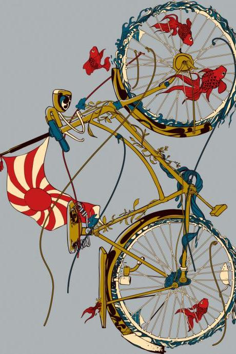 Cycling Fish 3 Pack, Dr Seuss, Japanese Card, Birthday Card, Blank Cards, Greeting Cards, Matching envelopes included