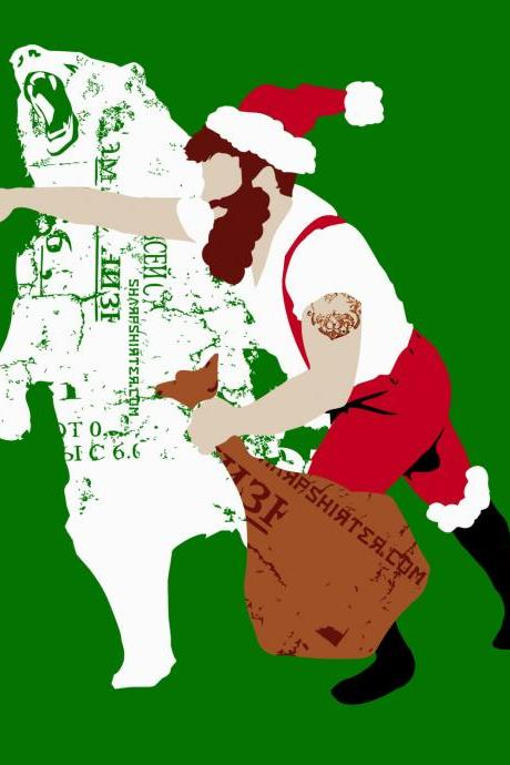Man Punching Bear, Christmas Bear Punch, Stationary Card, Greeting Card, Christmas Card, Comes with Matching Envelope