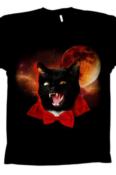 Cat t-shirt, dracula tee, space tshirt, geekery, black cat, moon tee, bowtie, Mens Black Tee
