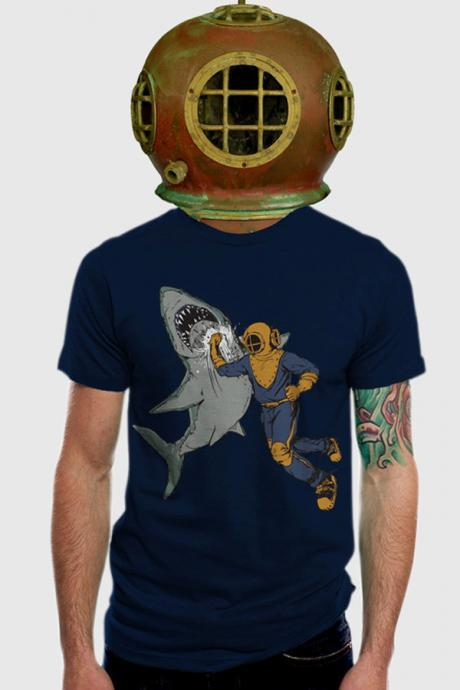 Shark Punch T-shirt // American Apparel // Navy // Men's 2XL