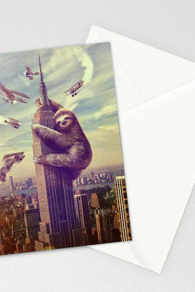 Slothzilla, Sloth, Sloth Card, 3-Pack of Stationary Cards with Matching Envelope