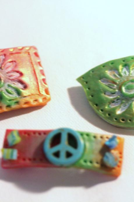 Hair Clips, Festival Style Hippy Style Bitsy Barrettes, 3 Polymer Clay Barrettes, Sun-Kissed, Peace Sign, Boho Barrettes