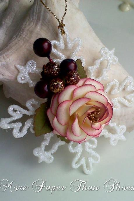 Handmade Paper Rose Ornament - Vintage Cream Burgundy
