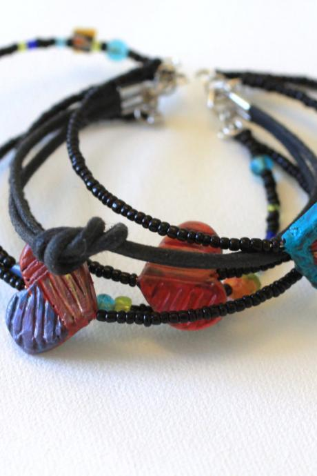 Friendship Bracelet, Hand Painted, Stack Bracelets, Seed Beads, Stone Chips, Bead, Polymer Clay