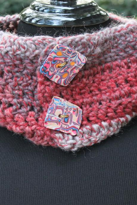 Strawberry Parfait - 20' Cowl Neck Warmer with Handmade Buttons, Can be worn 2 Ways, Natural Wool