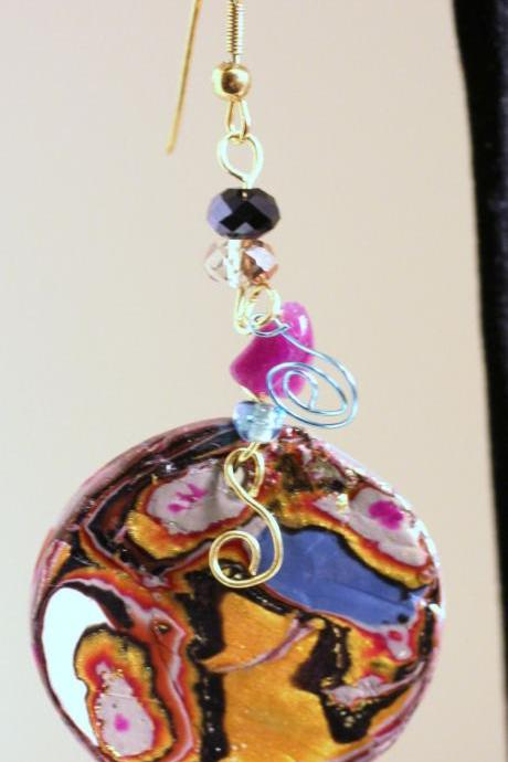 Earrings, Jewelry, Multi Color Marble, Gold Embossed, Aquamarine, Topaz and Amethyst Crystal Earring, Brass Wire Wrap