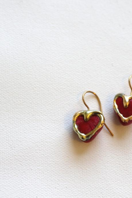 Heart Earrings, Drop Earring, Valentines Day, Pink, Gold Embossed