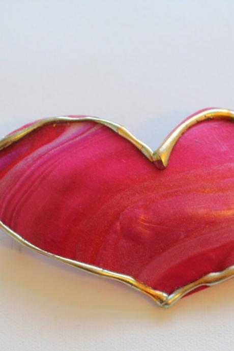 Heart Barrette, Valentines Day Hair clip, boho, gypsy, hippie, gold, gilt, hair accessory, formal, holiday, dressy, unique