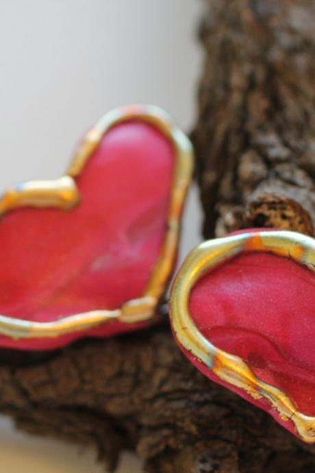 Teeny Tiny Heart Barrettes, Valentines Day Hair clip, boho, gypsy, hippie, gold, gilt, hair accessory, formal, holiday, dressy, unique