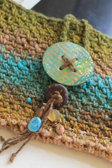 Kindle Case, Ipad Case, Crochet, Silk and Wool Japanese Fibers, Polymer Clay Closure, Turquoise, Copper, Greens