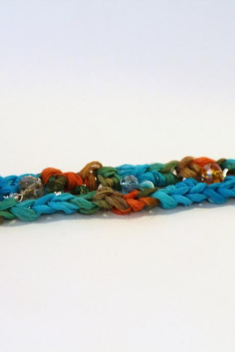 Womens Bracelet, Chain Bracelet, Sari Silk Chain Bracelet, Friendship Bracelet, Crystal Beads, Recycled Sari silk ribbon wrap