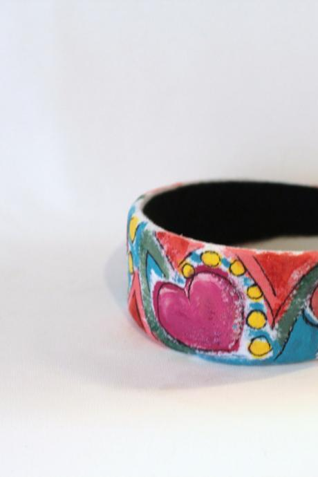 Mondrian Inspired Hand Painted Headband, Modern Art style multi color recycled, repurposed Boho Headband
