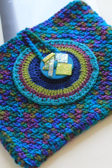Kindle Case, Ipad Case, Hand Crochet Accessory Case with Polymer Clay Button Closure