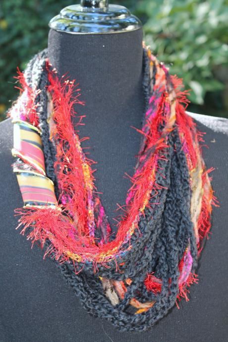 Ebony Fire - Womens Scarf, Mixed Fiber Neck Wrap/Twist, Can be Worn 3 Ways, Gold Embossed Jewelry Twist