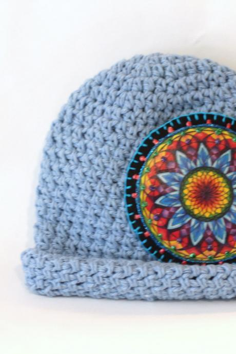 Best Baby Beanie, Cotton Hand Crochet with Rainbow Mandala Patch, Roll Brim Hat, Brimmed Hat, Childrens Hats, Baby Hats