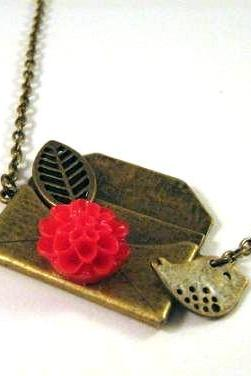 Bronze envelope necklace jewelry with bird swallow charm and red resin flower