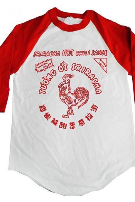 Sriracha Hot Chili Sauce Raglan Baseball Tee Shirt Free Shipping