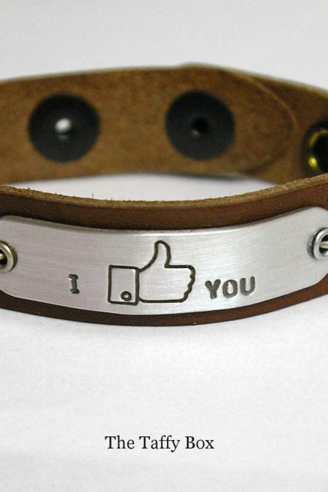Facebook 'like' Bracelet in leather or chain