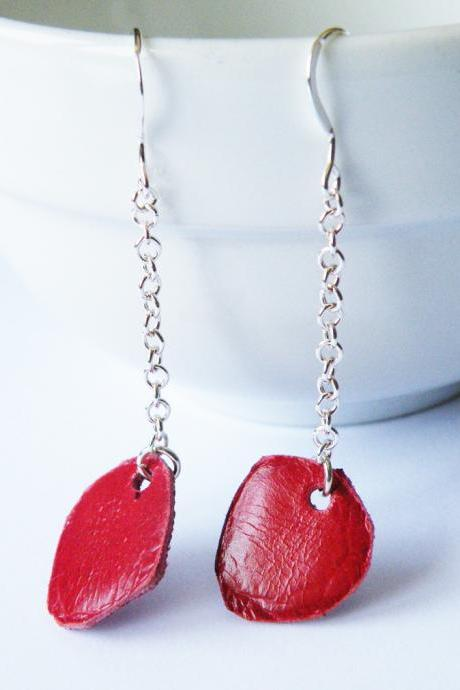 Sterling Silver Dangle Earrings Red Ruby Leather Chips Leather Jewelry by SteamyLab