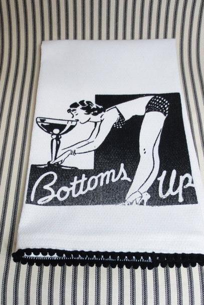 White kitchen towel or tea towel with Pin Up Girl screen print