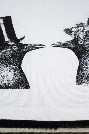 White kitchen towel or tea towel with Crow Couple screen print