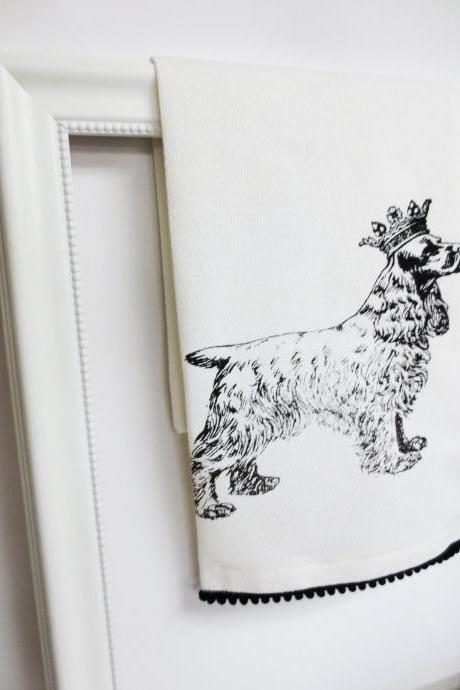 White kitchen towel or tea towel with cocker spaniel screen print