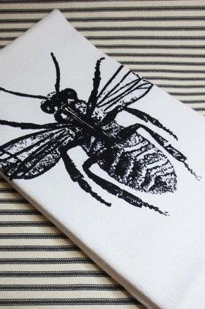 White kitchen towel or tea towel with Bee screen print