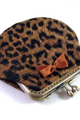Leopard frame pouch with brown satin bow - frame coin purse - frame purse