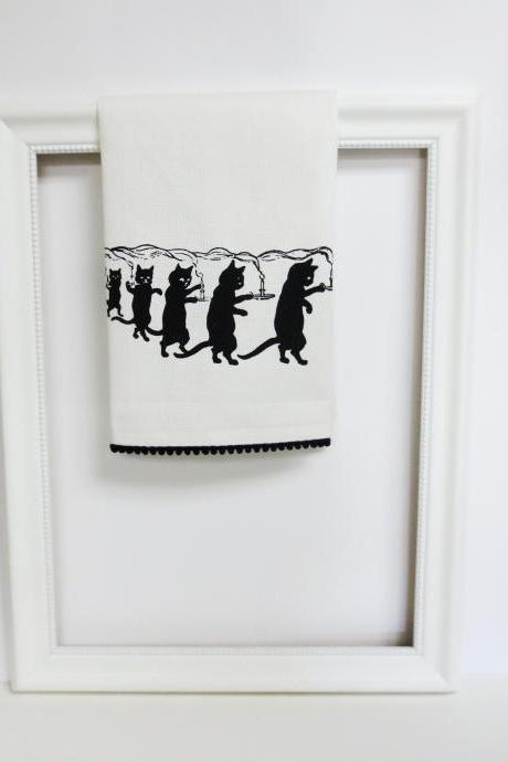 White kitchen towel or tea towel with fantasy kitty cat screen print