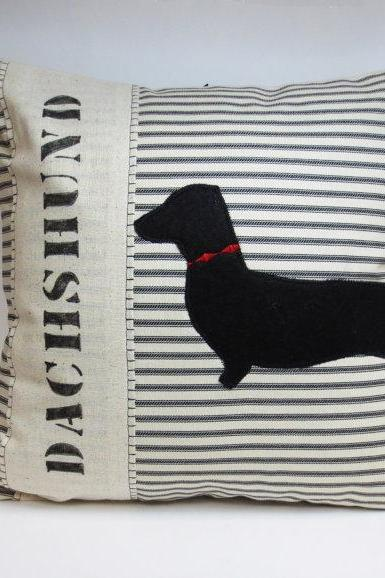 Dachshund Dog Silhouette Pillow Cushion Cover