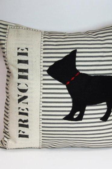 French Bulldog Frenchie Dog Silhouette Pillow Cushion Cover
