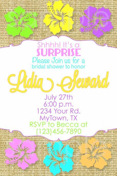 HAWAIIAN bridal shower Invitation Hawaiian Birthday hibiscus party printable diy