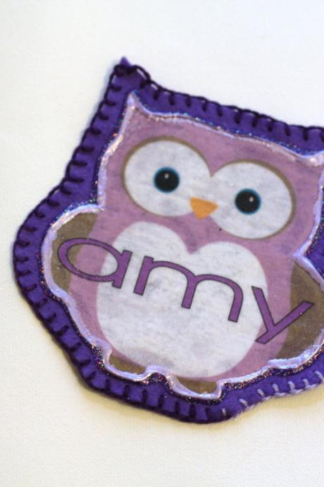 Owl Applique Patch, Personalized Hand Embroidered, Painted Decorative Accessory for Jeans, t shirts, bags
