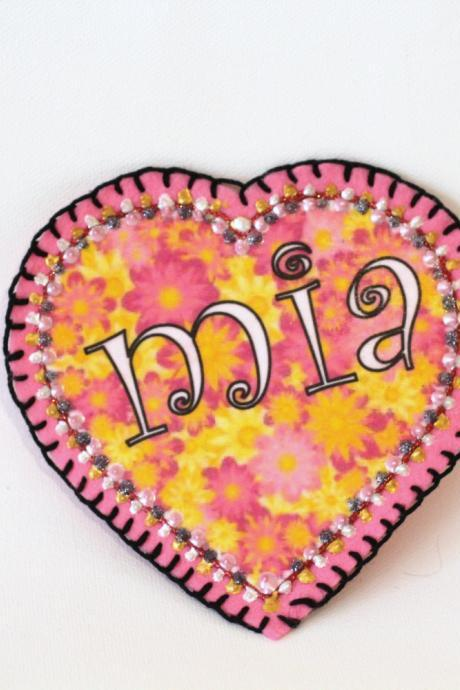 Flower Power Heart Applique, Patch, Personalized Hand Embroidered, Painted Decorative Accessory for Jeans, t shirts, bags