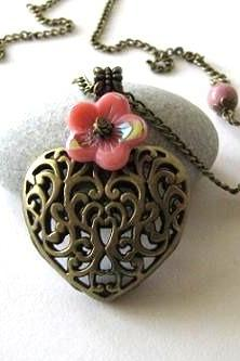 Antiqued bronze puffed heart necklace jewelry with rhodonite stones and pink flower - Long chain necklace