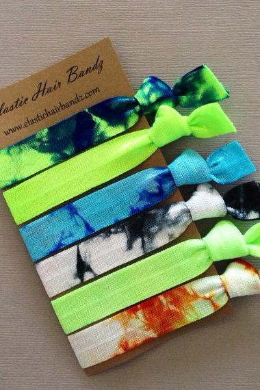 The Tyler Tie Dye Hair Tie Collection - 6 Elastic Hair Ties by Elastic Hair Bandz