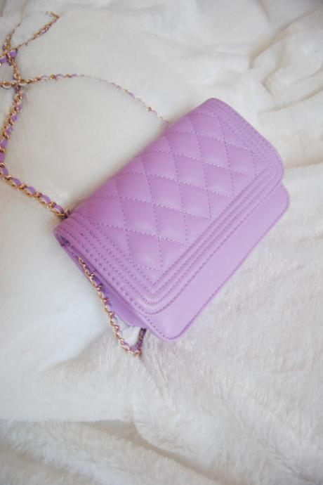 Purple Diamond-shaped chain bag